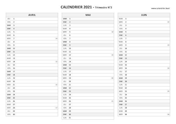 Calendrier 2ème Trimestre 2022 à Imprimer Calendrier 2021 trimestriel à imprimer