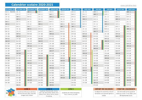 Calendrier scolaire 2020 2021 à imprimer   Pdf
