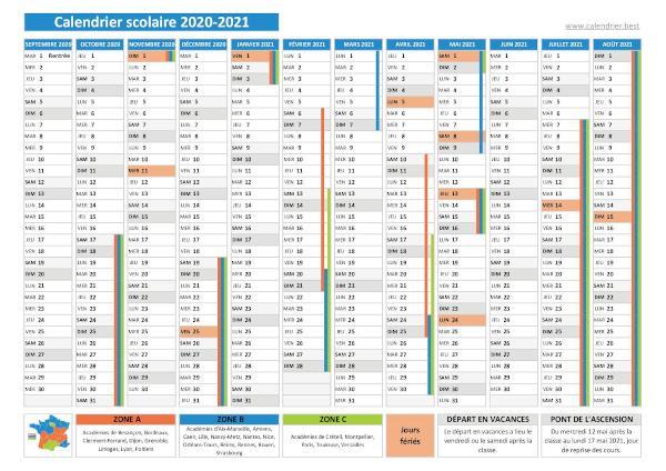 Vacances scolaires 2020 2021   Calendrier scolaire 2020 2021 à