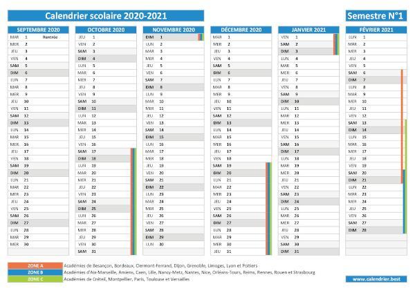 Calendrier 1er Semestre 2021 Avec Vacances Scolaires Calendrier scolaire 2020 2021 à imprimer   Pdf