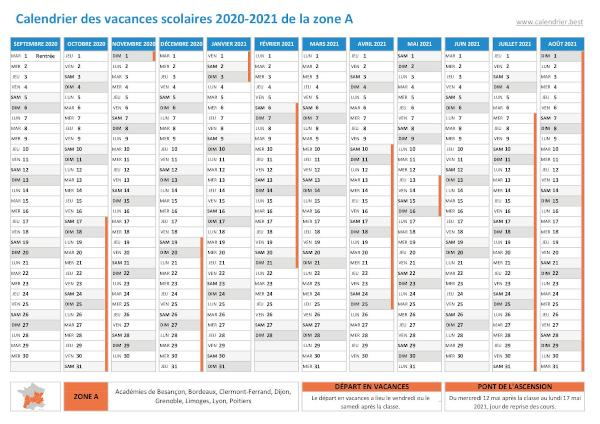 Calendrier 2021 2022 Zone A Vacances scolaires zone A   Calendrier scolaire 2020   2021   2022
