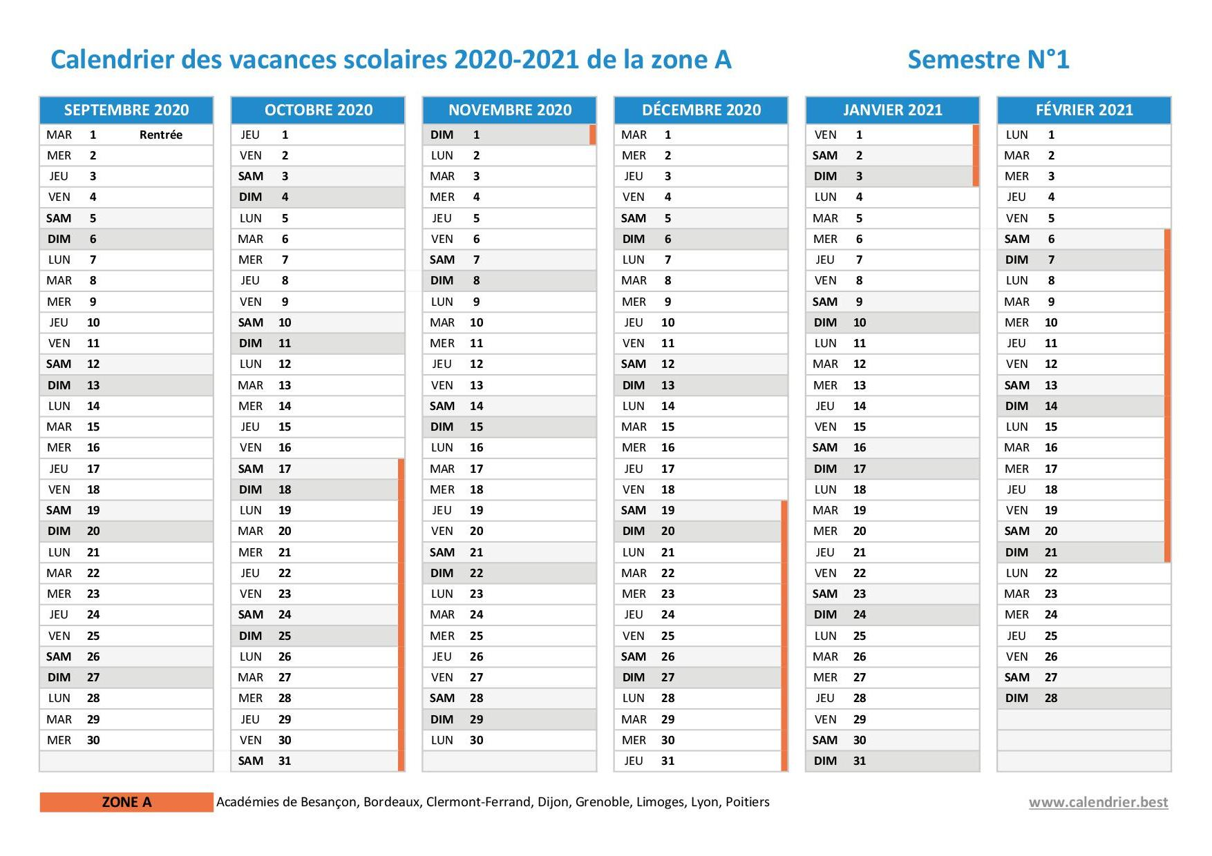 Vacances scolaires 2020 2021 Bordeaux : dates et calendrier
