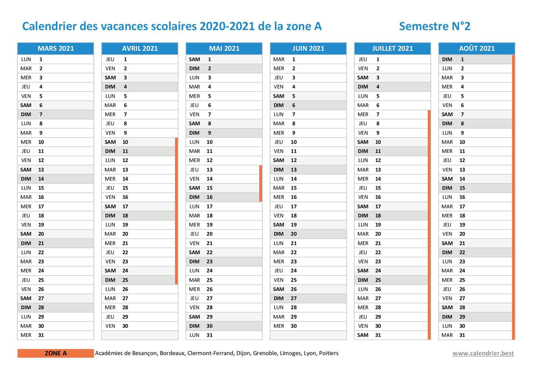 Vacances scolaires 2020 2021 Dijon : dates et calendrier
