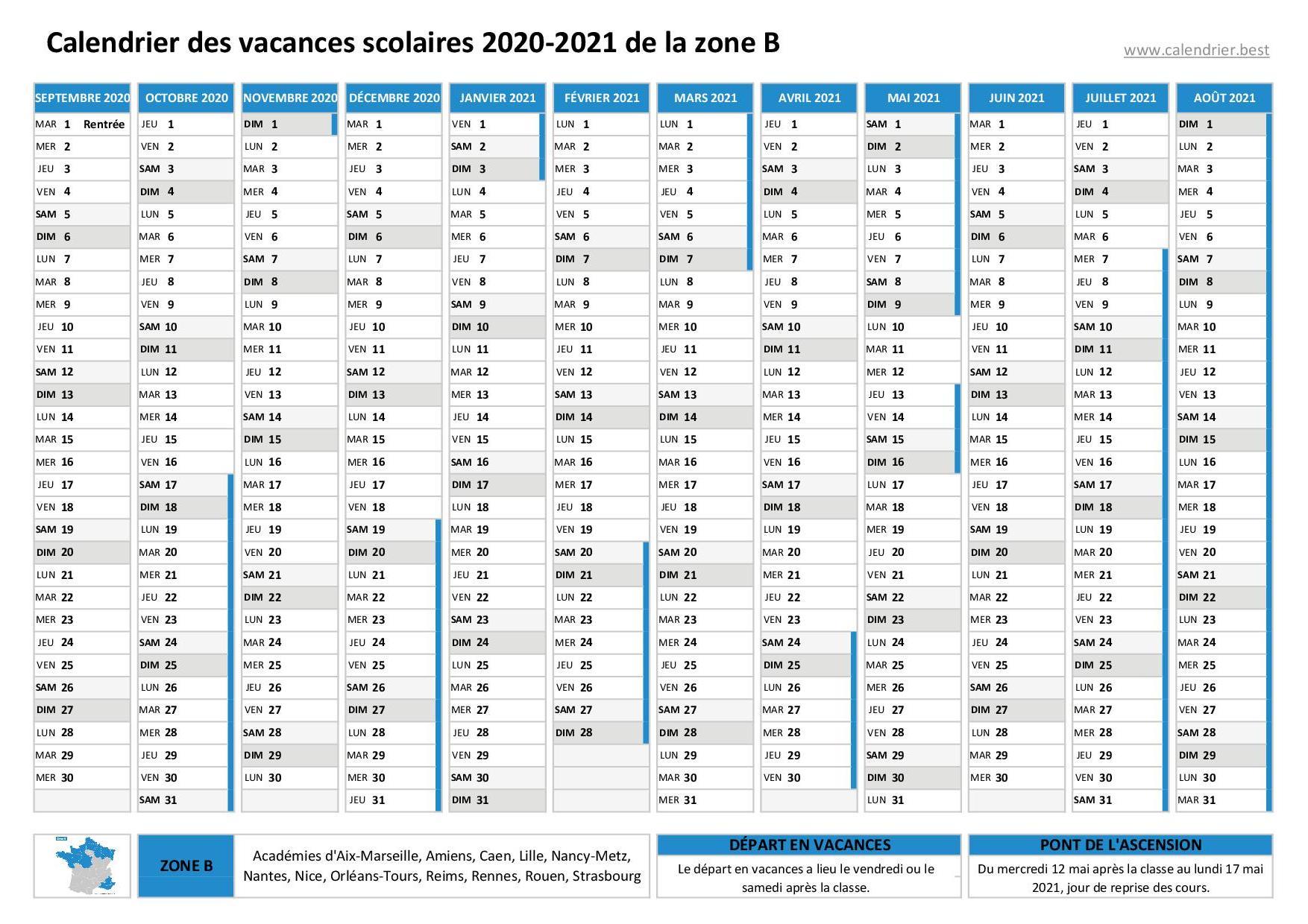 Vacances scolaires 2020 2021 et 2021 2022 Strasbourg : dates et