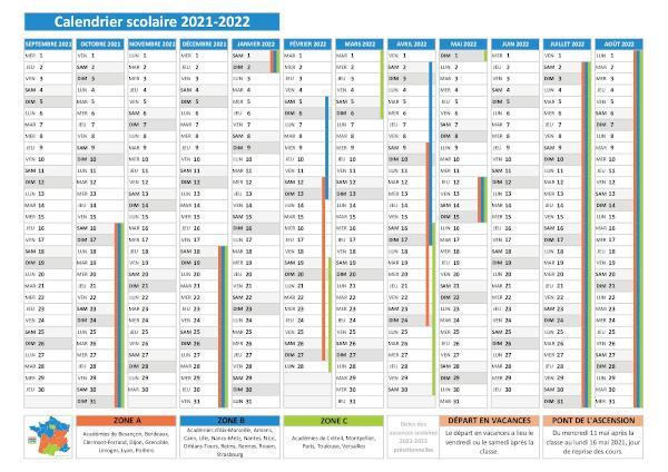 Calendrier Saison 2021 2022 Vacances scolaires 2021 2022   Calendrier scolaire 2021 2022 à