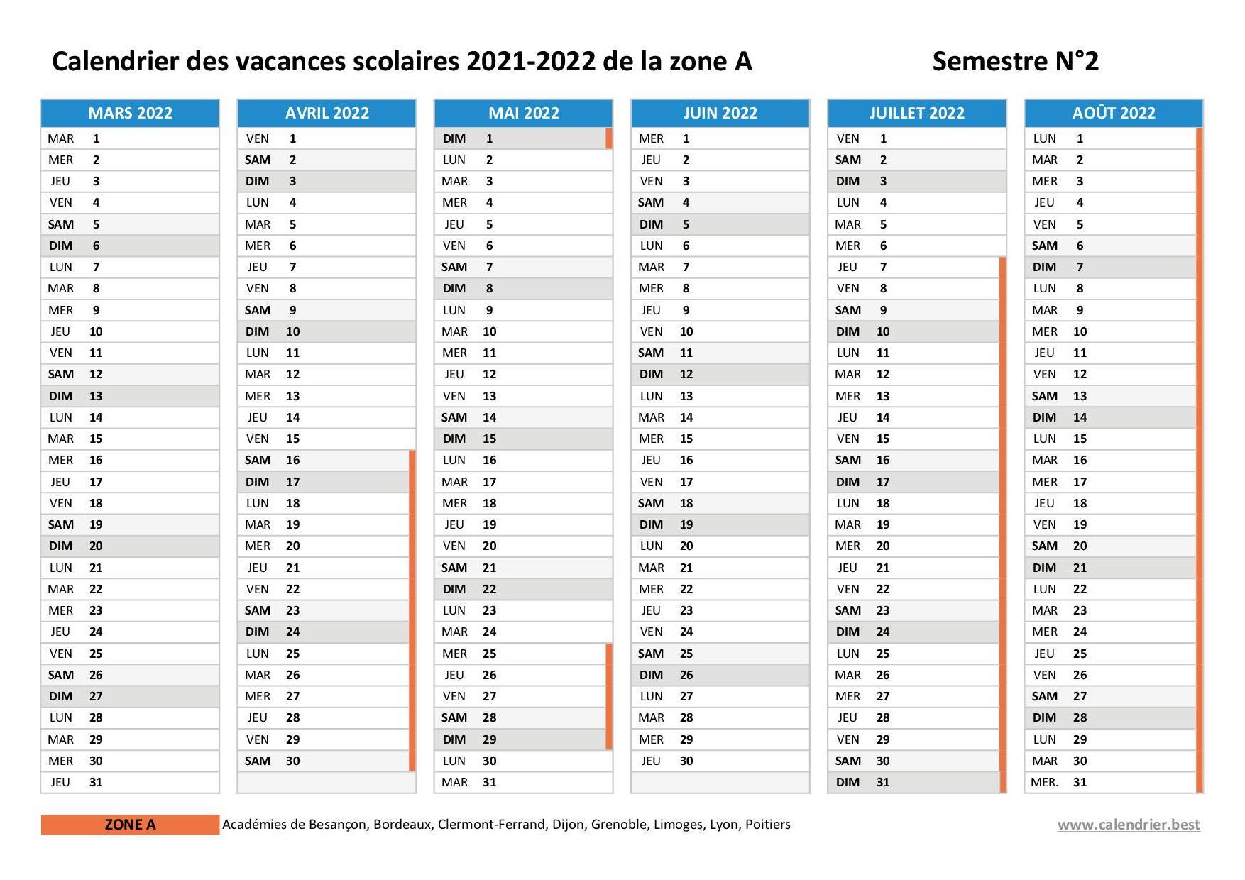Calendrier Universitaire Lyon 3 2022 2023 Vacances scolaires 2020 2021 et 2021 2022 Bordeaux : dates et