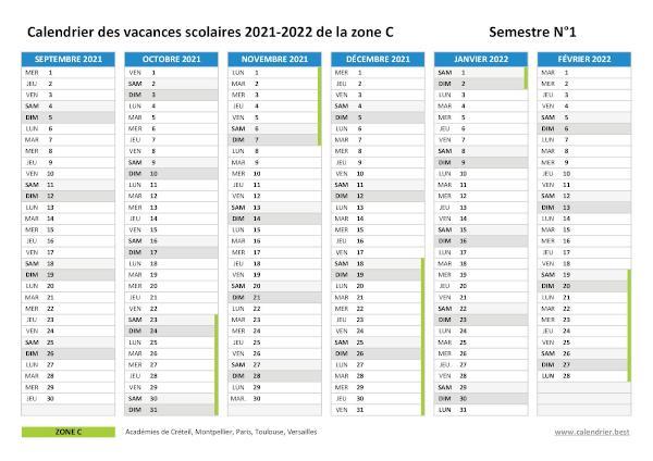 Calendrier Scolaire 2019 Et 2022 à Imprimer Zone C Vacances scolaires 2021 2022 2023 zone C   Calendrier scolaire