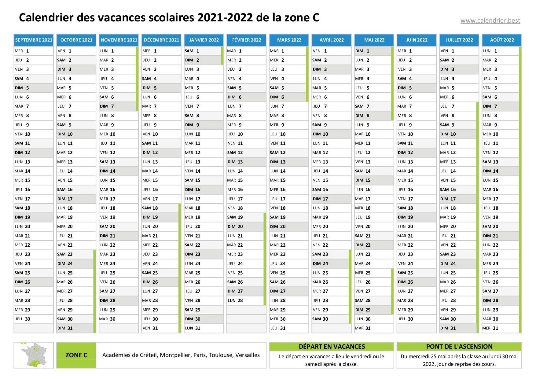 Calendrier Vacances Scolaires 2022 Zone C Vacances scolaires zone C   Calendrier scolaire 2020 2021 et 2021 2022