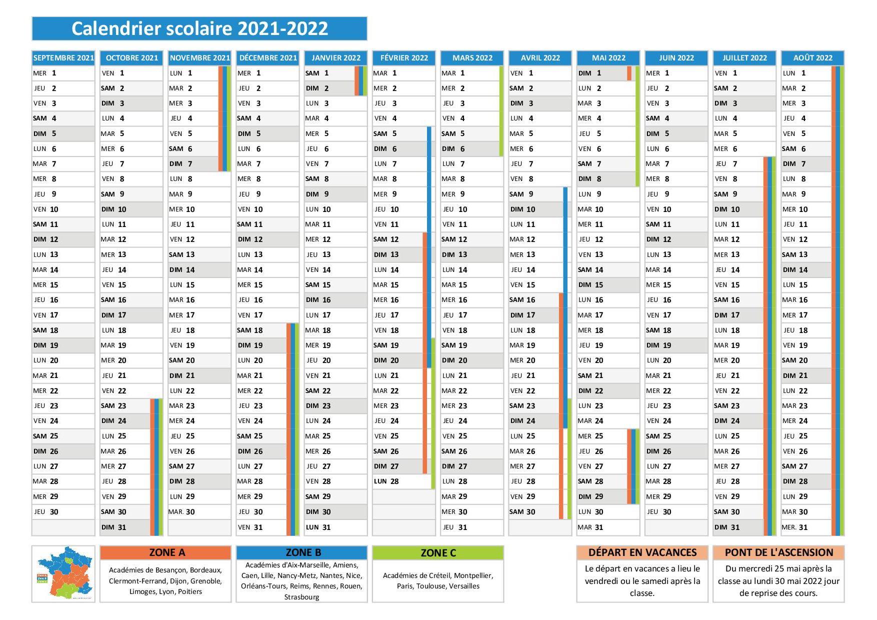 Calendrier 2021 Scolaire 2022 Zone B