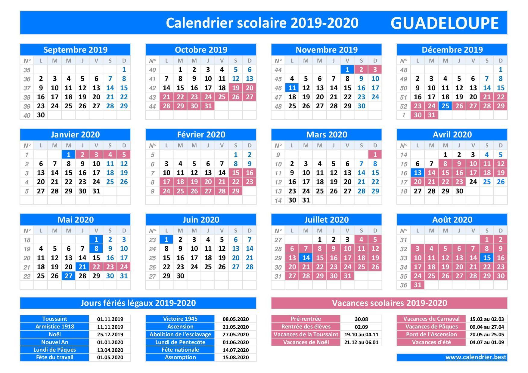 Vacances scolaires académie de Guadeloupe
