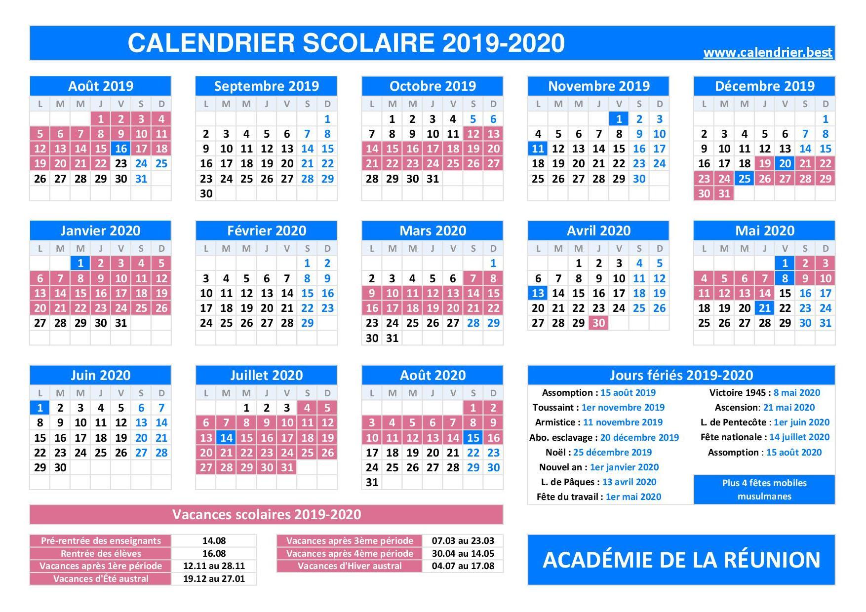 Calendrier Scolaire 2021 2022 Reunion Vacances scolaires académie de La réunion