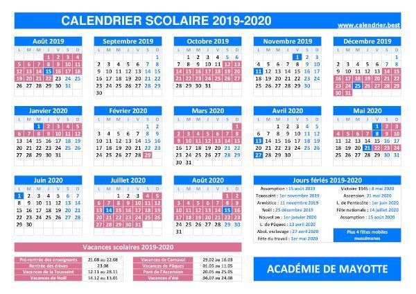 Vacances scolaires académie de Mayotte