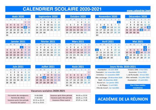 Calendrier Scolaire 2022 2023 Reunion Vacances scolaires académie de La Réunion